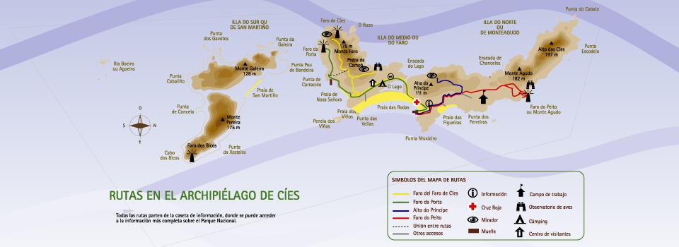 Mapa rutas senderismo islas cíes